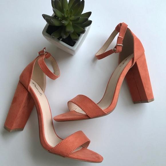 peach high heel shoes